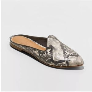 Women's Faux Leather Gray Snakeskin Printed Mules